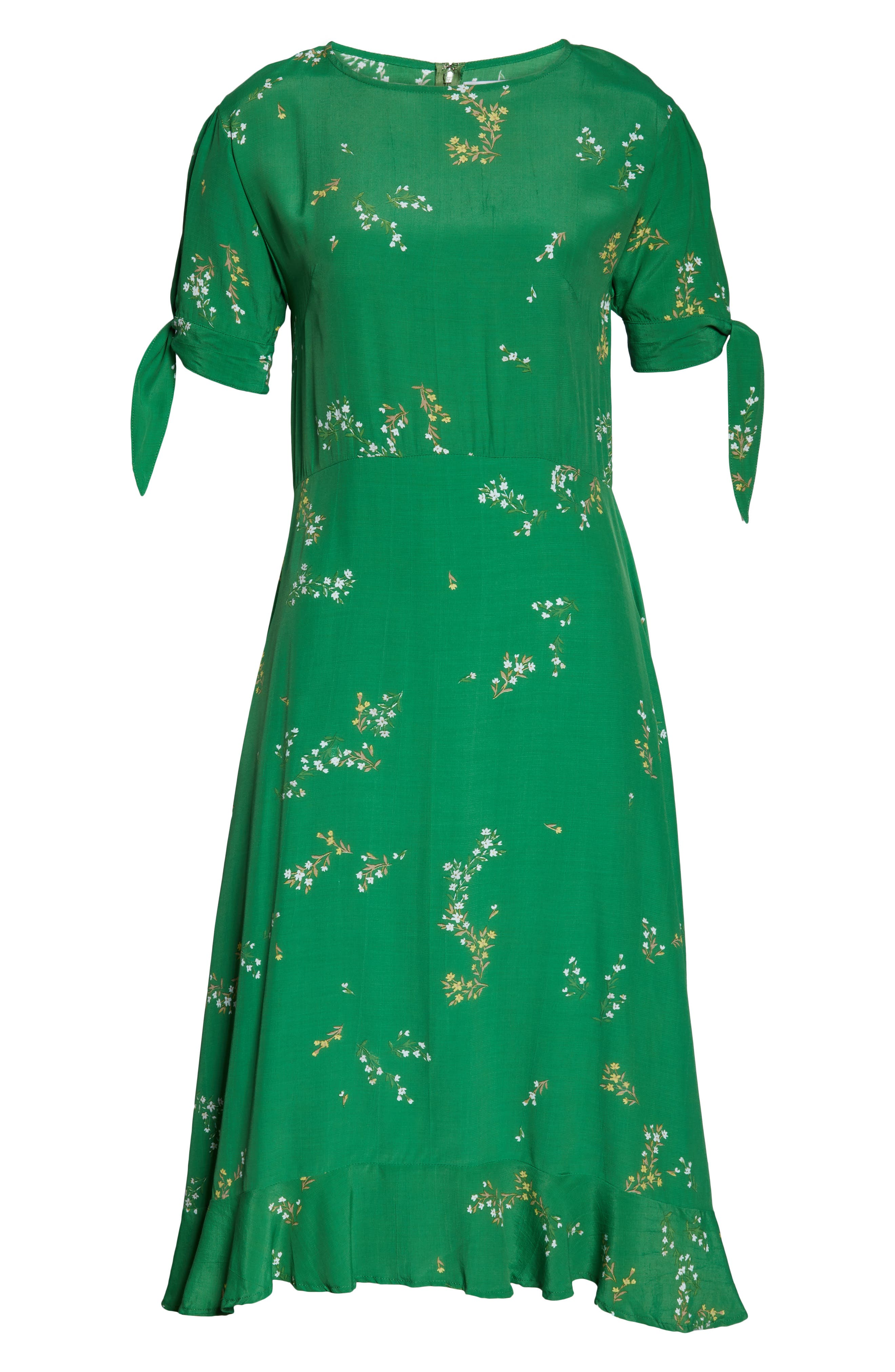 ,                             Emilia Floral Midi Dress,                             Alternate thumbnail 5, color,                             MYRTILLE FLORAL PRINT - GREEN
