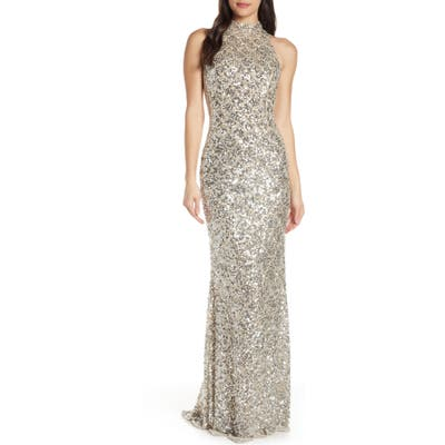 MAC Duggal Scallop Pattern Sequin Gown, Grey