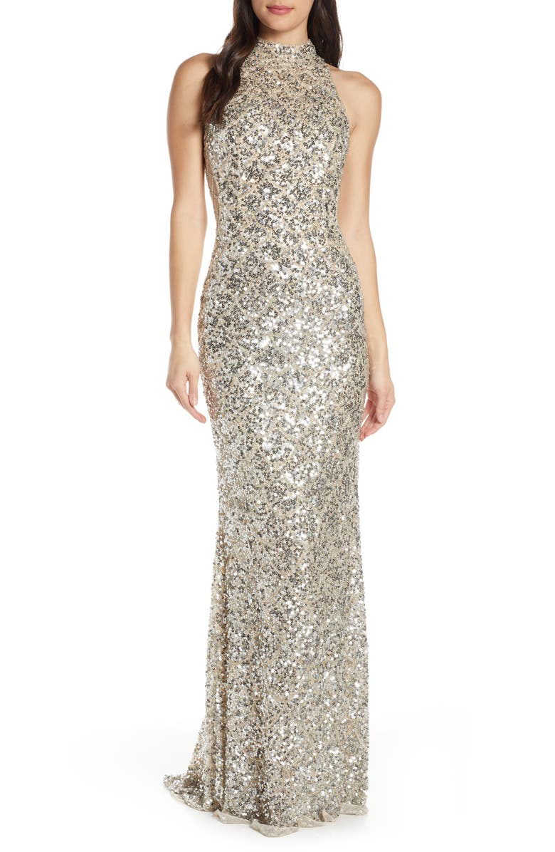 MAC DUGGAL Scallop Pattern Sequin Gown, Main, color, SILVER