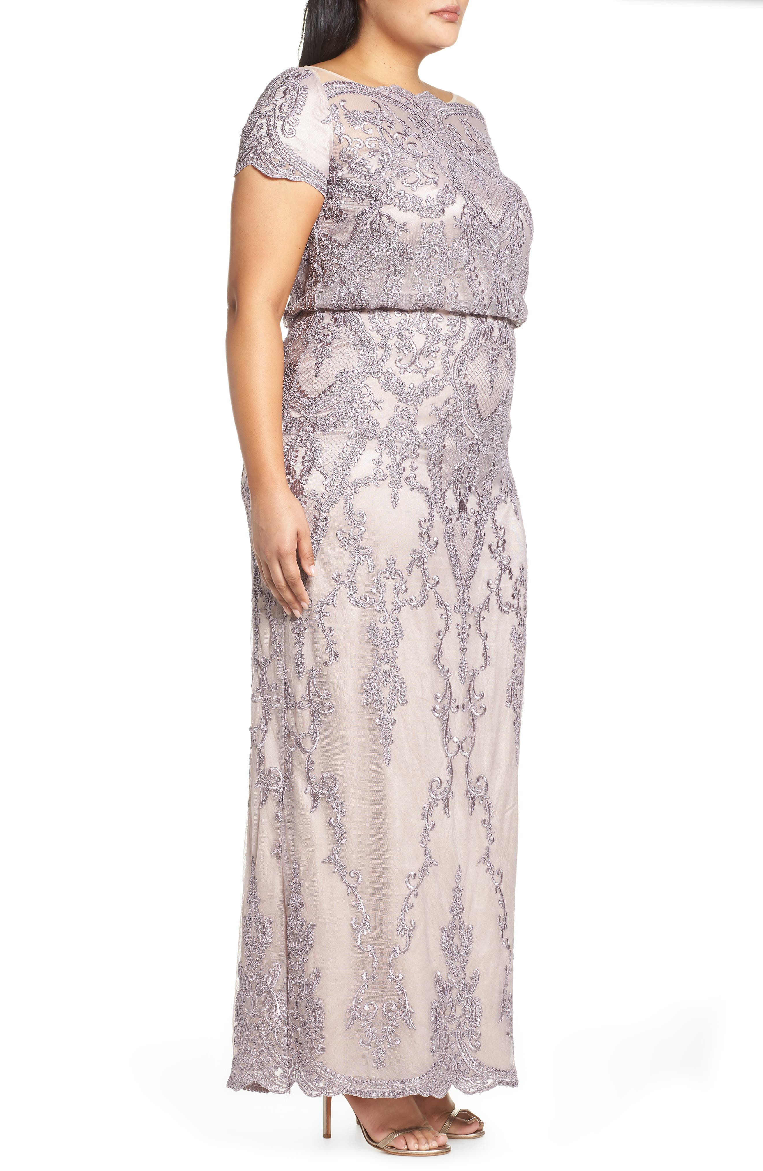 ,                             Scallop Embroidered Blouson Evening Dress,                             Alternate thumbnail 4, color,                             DUSTY LAVENDER