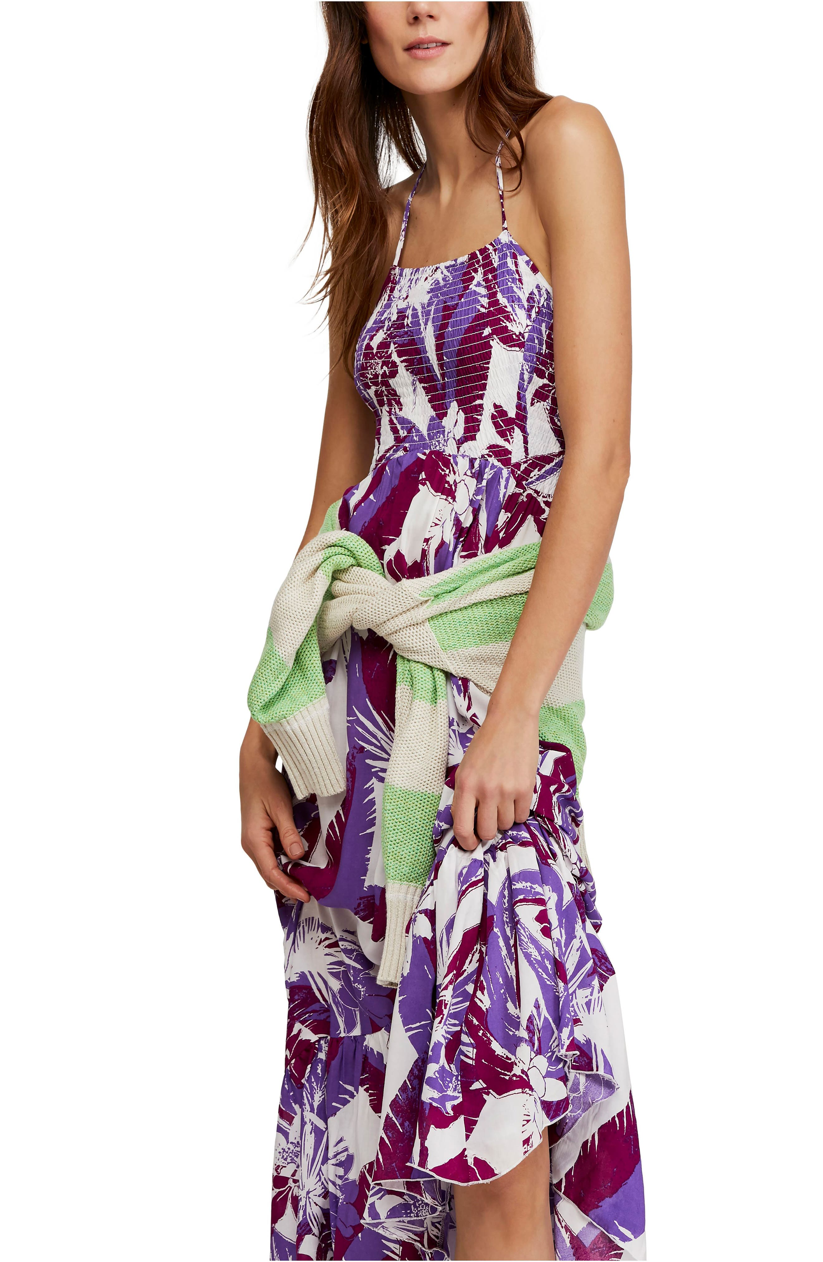 Free People Heat Wave Floral Print High/low Dress, Ivory