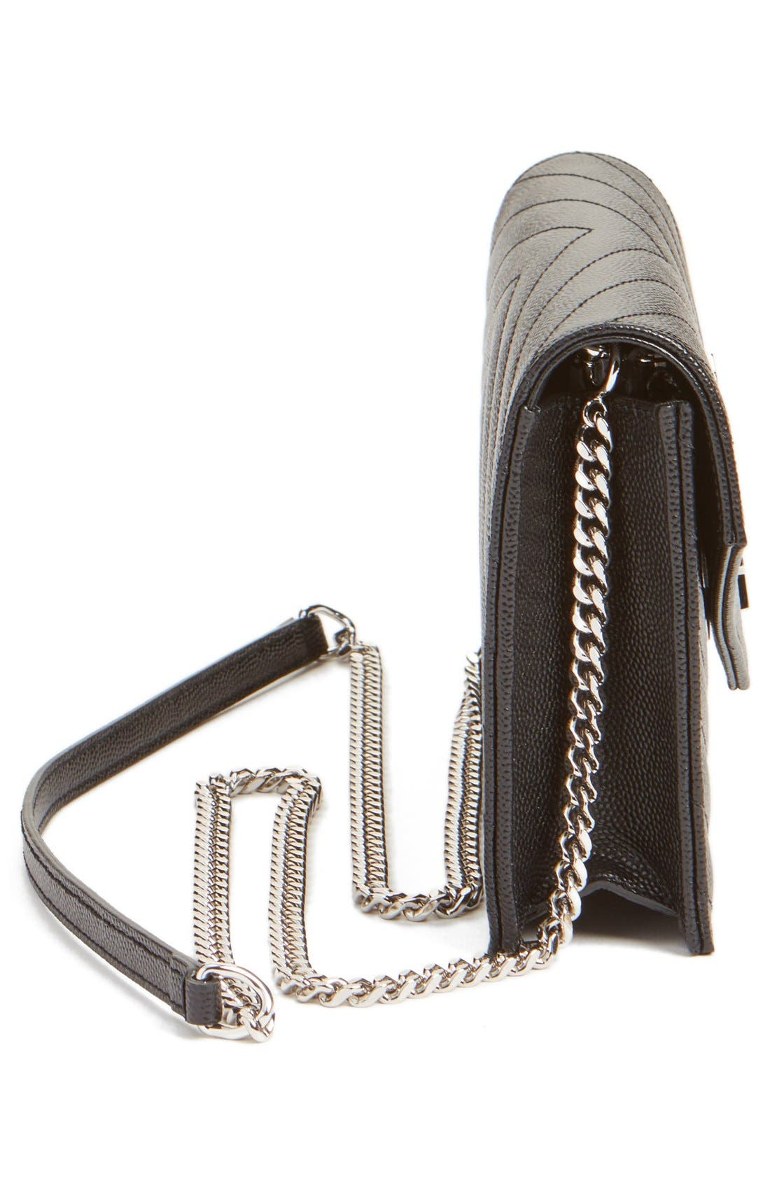 ,                             Quilted Calfskin Leather Wallet on a Chain,                             Alternate thumbnail 7, color,                             NOIR