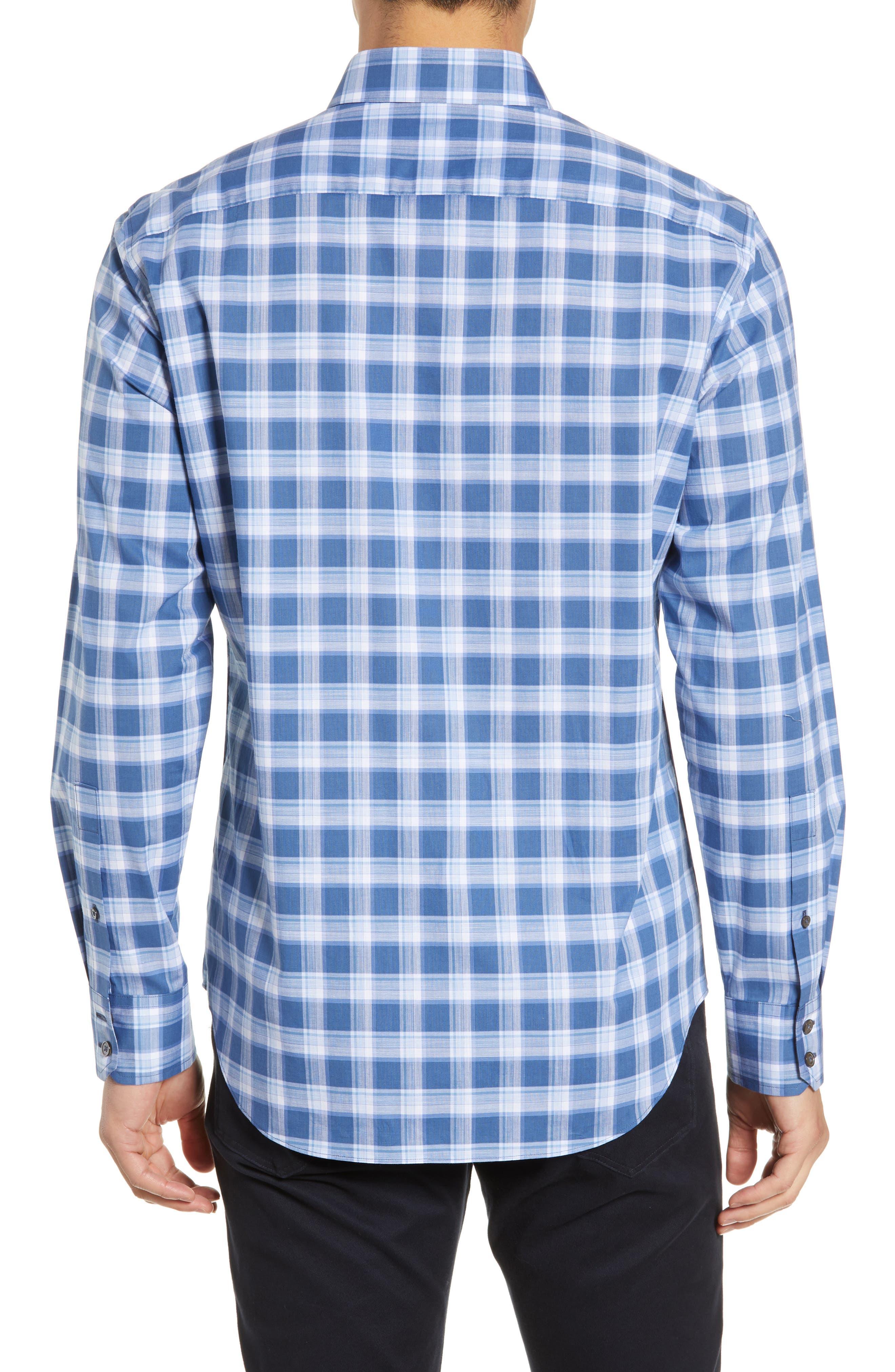 ,                             Albrecht Regular Fit Check Sport Shirt,                             Alternate thumbnail 3, color,                             BLUE