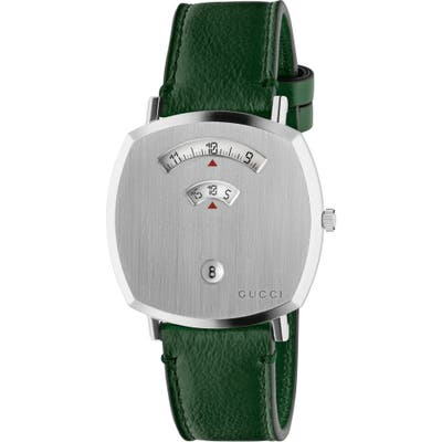 Gucci Grip Leather Strap Watch,