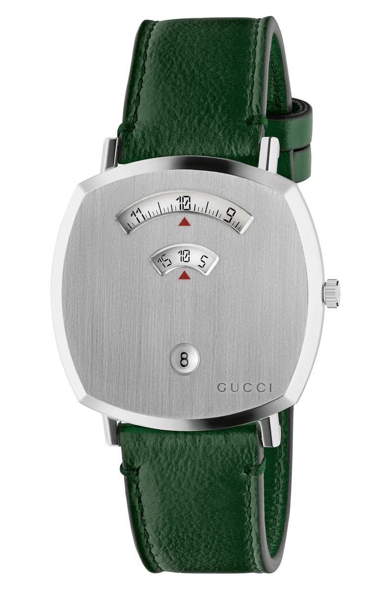 GUCCI Grip Leather Strap Watch, 38mm, Main, color, GREEN/ SILVER