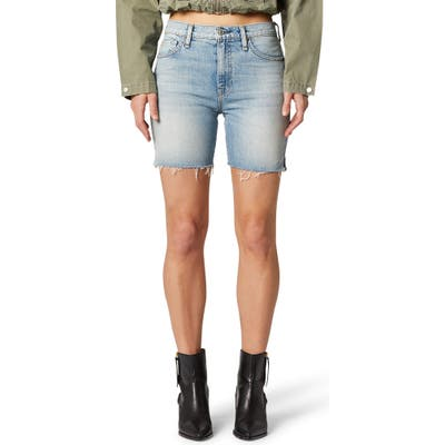 Hudson Jeans Hana High Waist Cutoff Denim Biker Shorts, 7 - Blue