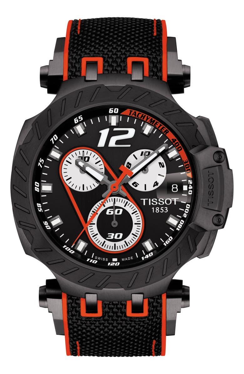 TISSOT T-Race Marc Marquez Chronograph Rubber Strap Watch, 48mm, Main, color, 001