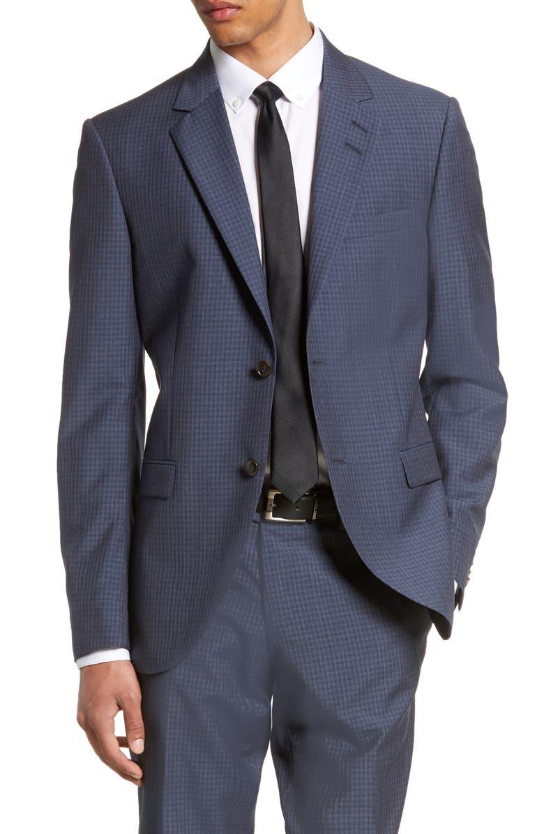 TIGER OF SWEDEN Jamonte Trim Fit Check Wool Blazer, Main, color, 430