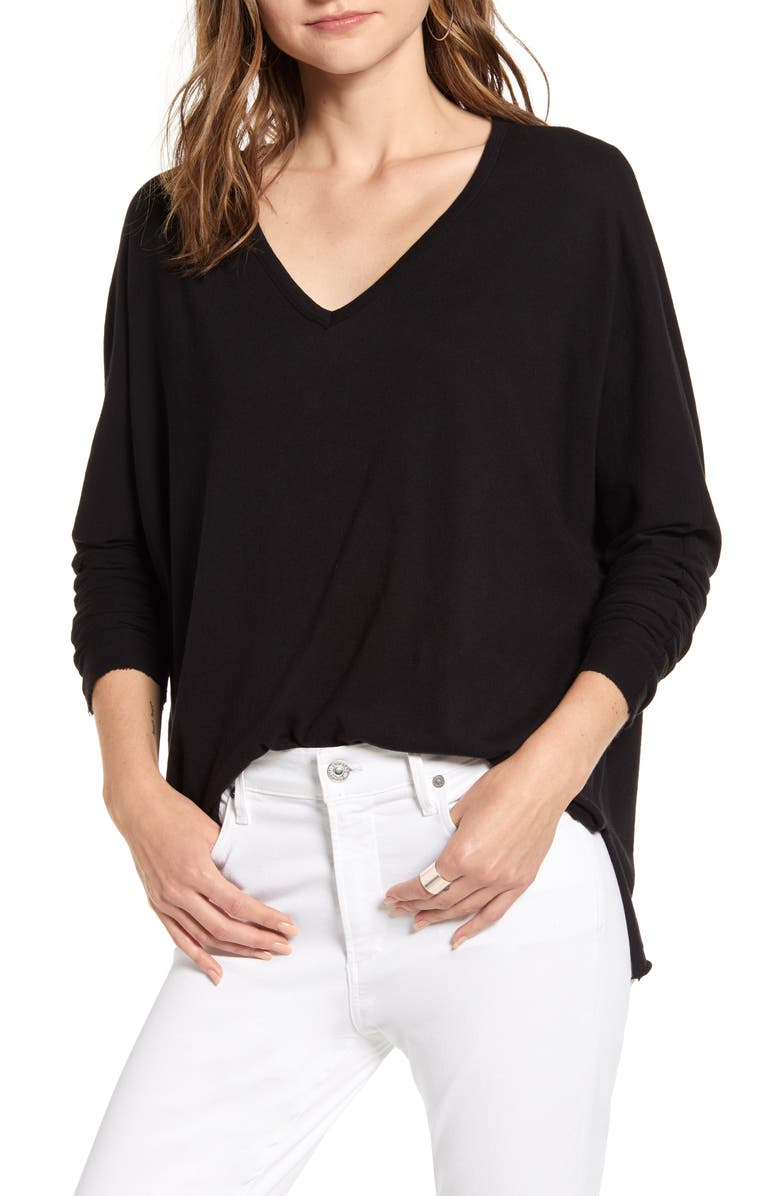 FRANK & EILEEN V-Neck Tee, Main, color, BLACK