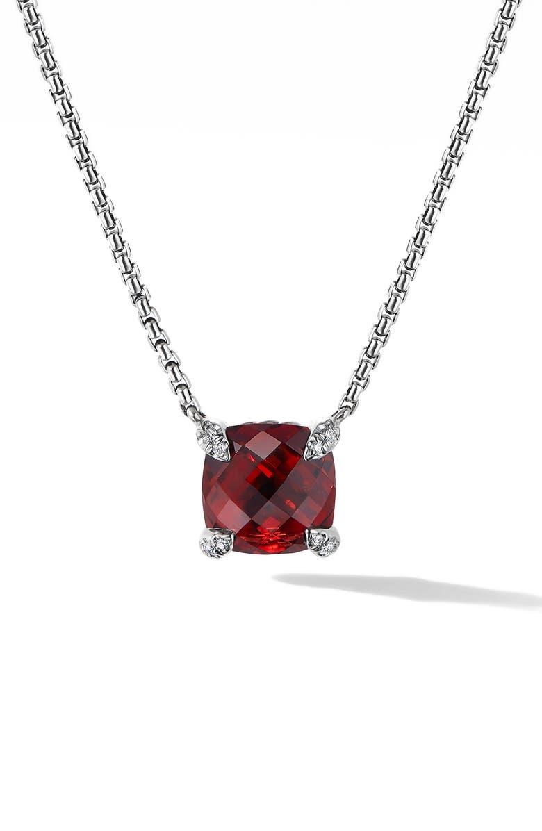 DAVID YURMAN Chatelaine<sup>®</sup> Pendant Necklace with Diamonds, Main, color, RHODALITE GARNET