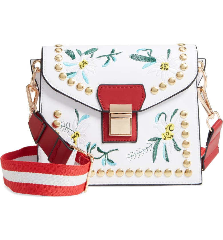 KNOTTY Floral Studded Crossbody Bag, Main, color, 100