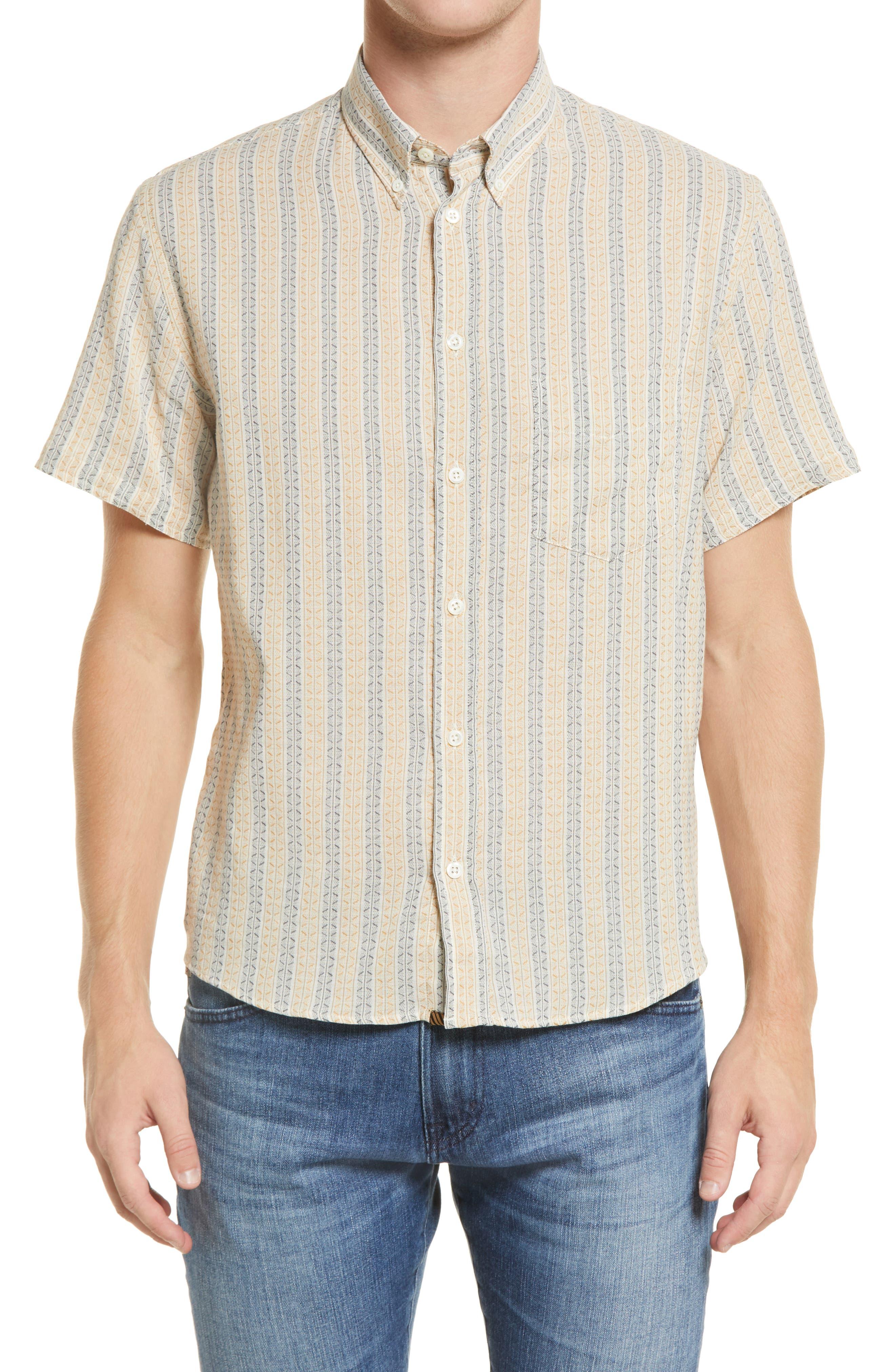 Kirby Slim Fit Stripe Short Sleeve Button-Down Shirt