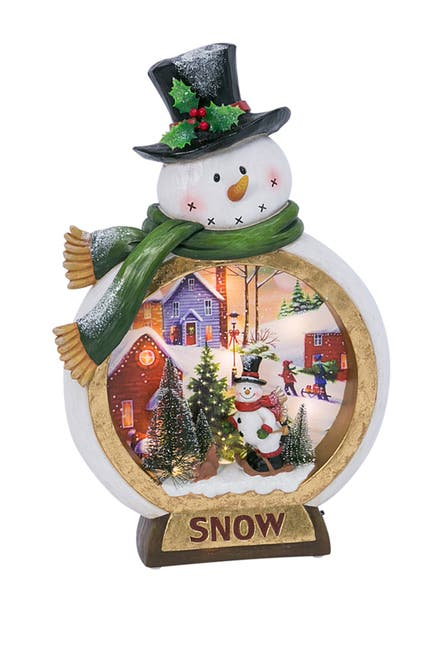 Image of Gerson Company Lighted Musical Resin Snowman with Holiday Scene