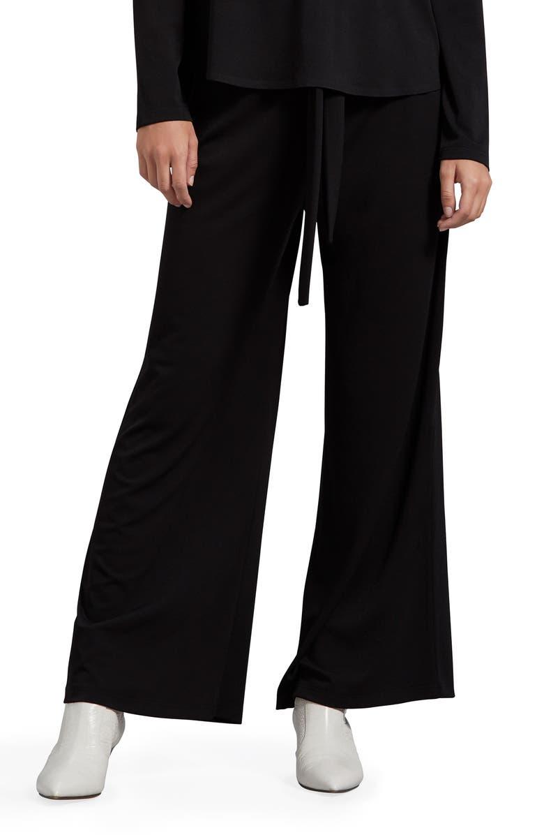 MICHAEL STARS Gloria Cambria Wide Leg Stretch Crepe Pants, Main, color, BLACK