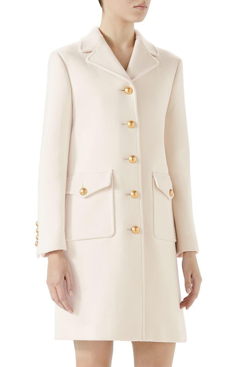 GUCCI Double G Wool Coat, Main, color, GARDENIA