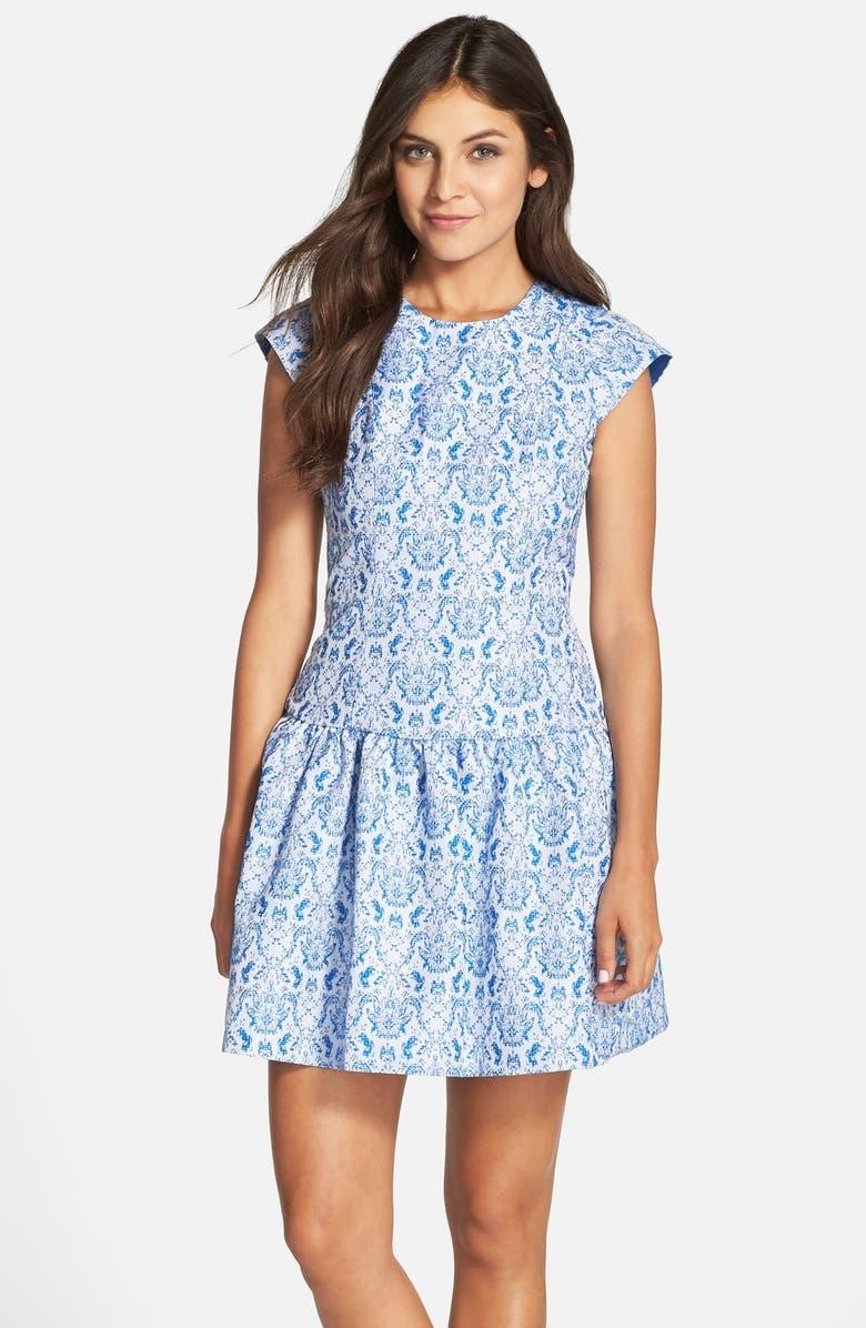 KAYA & SLOANE Flocked Lace Drop Waist Dress, Main, color, 429