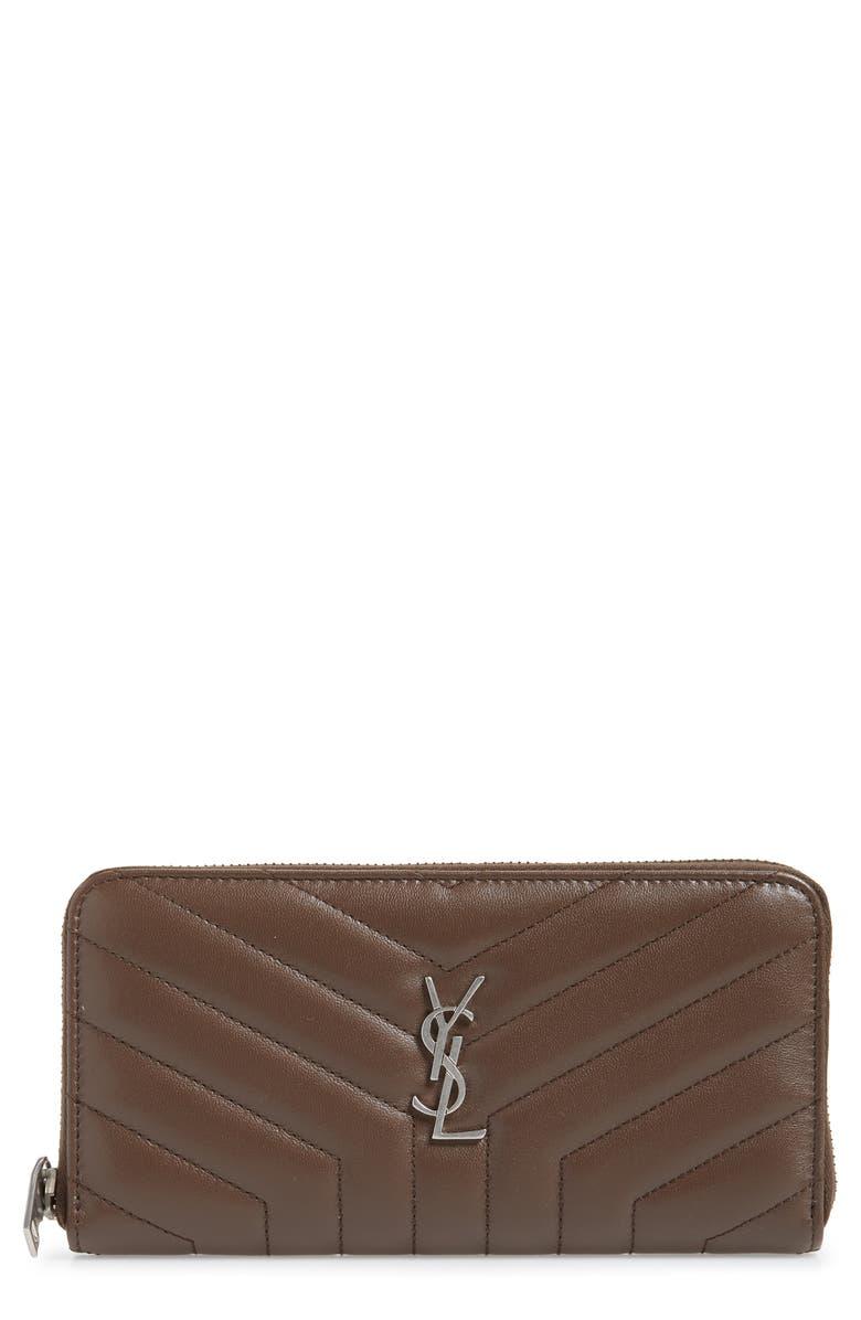 SAINT LAURENT Loulou Matelassé Leather Zip-Around Wallet, Main, color, FAGGIO