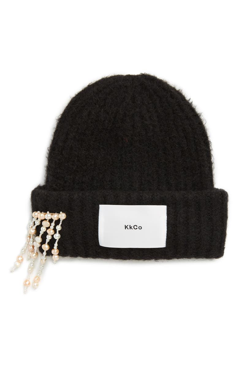 KKCO Genuine Pearl Brooch Beanie, Main, color, BLACK