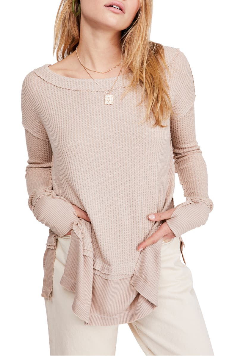 FREE PEOPLE North Shore Thermal Knit Tunic Top, Main, color, SAND