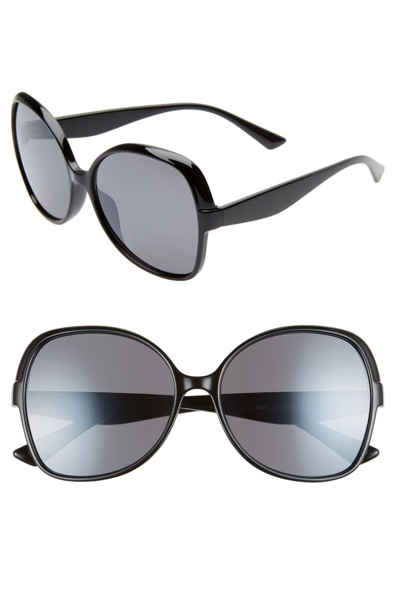 BP. '70s Vibe 59mm Rounded Square Sunglasses, Main, color, BLACK