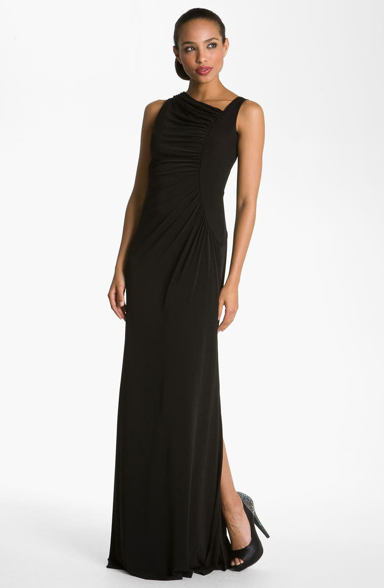 CALVIN KLEIN Asymmetrical Jersey Gown, Main, color, 001