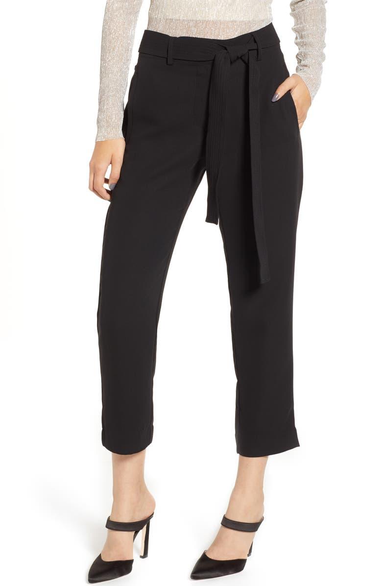 CHELSEA28 Tie Waist Ankle Pants, Main, color, BLACK