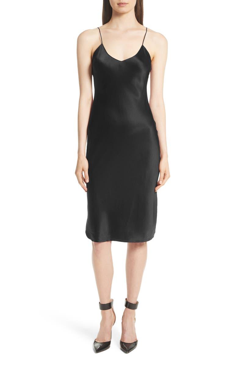 NILI LOTAN Silk Slipdress, Main, color, BLACK