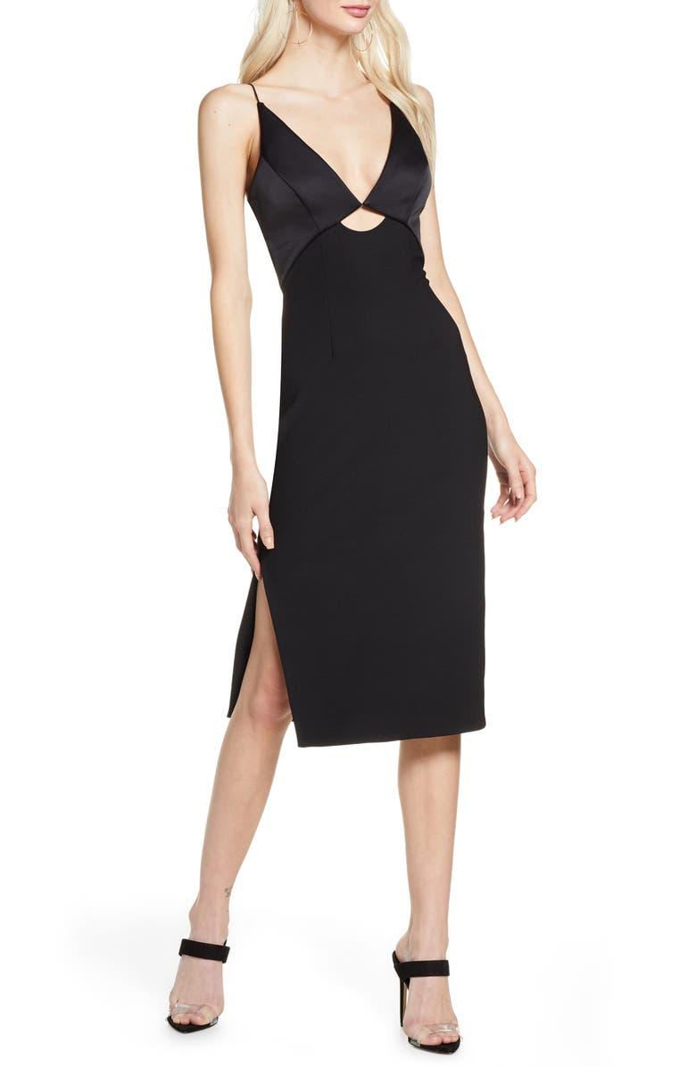 FINDERS KEEPERS Paradise Cutout Detail Satin & Crepe Sheath Dress, Main, color, BLACK