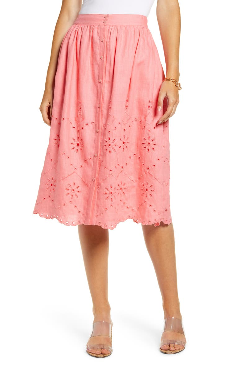 RACHEL PARCELL Eyelet Linen A-Line Skirt, Main, color, PINK STRAWBERRY