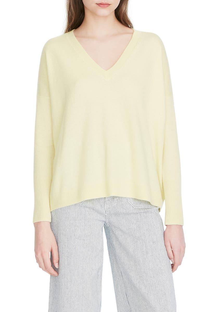 J.CREW V-Neck Boyfriend Cashmere Sweater, Main, color, VINTAGE CITRUS