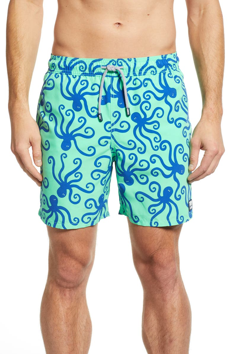 TOM & TEDDY 'Octopus Pattern' Swim Trunks, Main, color, GREEN/ BLUE