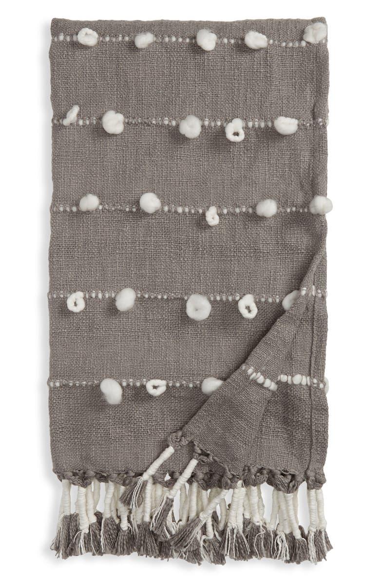 TREASURE & BOND Textured Yarn Throw Blanket, Main, color, GREY FROST