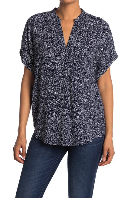 Image of MELLODAY Ditsy Print Front Placket Blouse