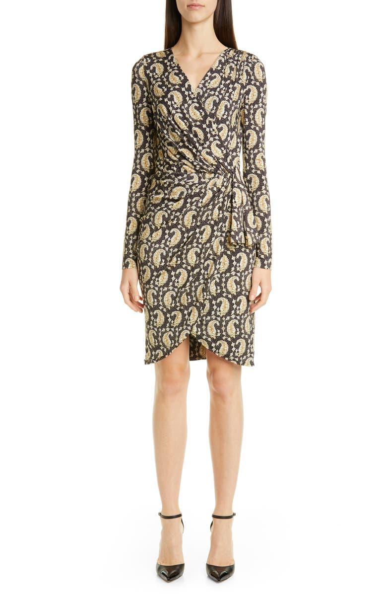 ALTUZARRA Long Sleeve Ruched Faux Wrap Jersey Dress, Main, color, NEUTRAL