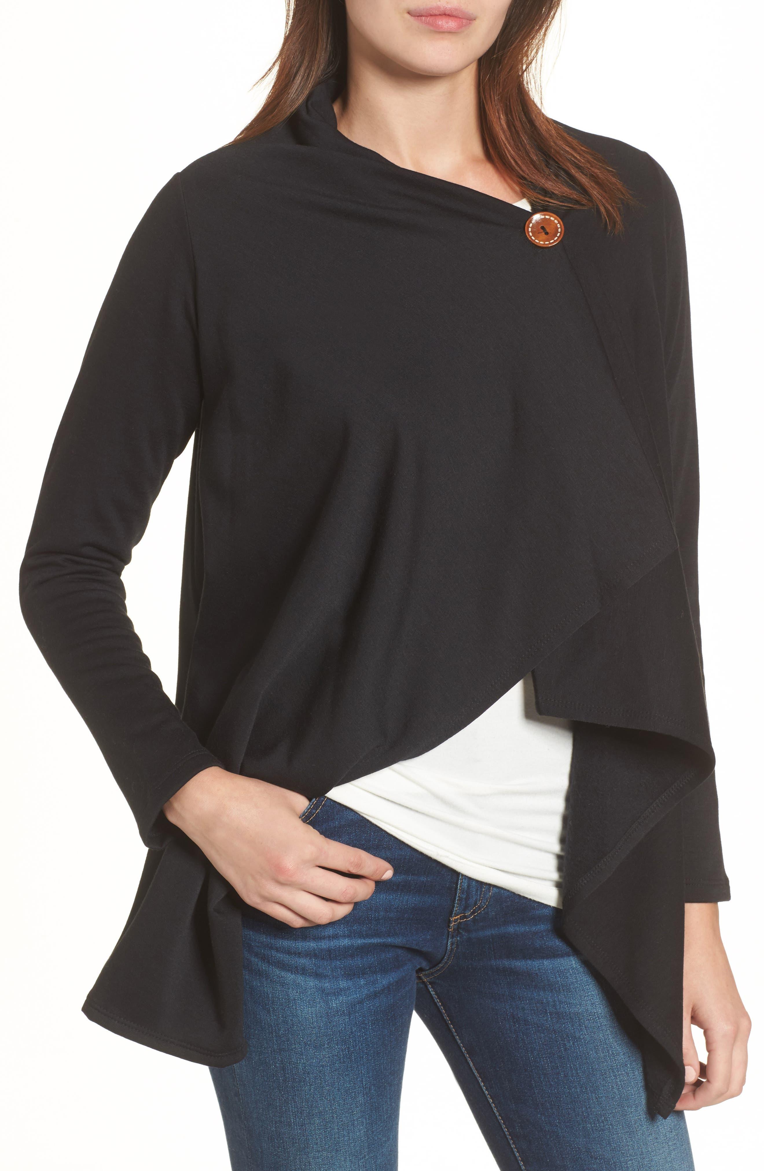 One-Button Fleece Wrap Cardigan, Main, color, 001