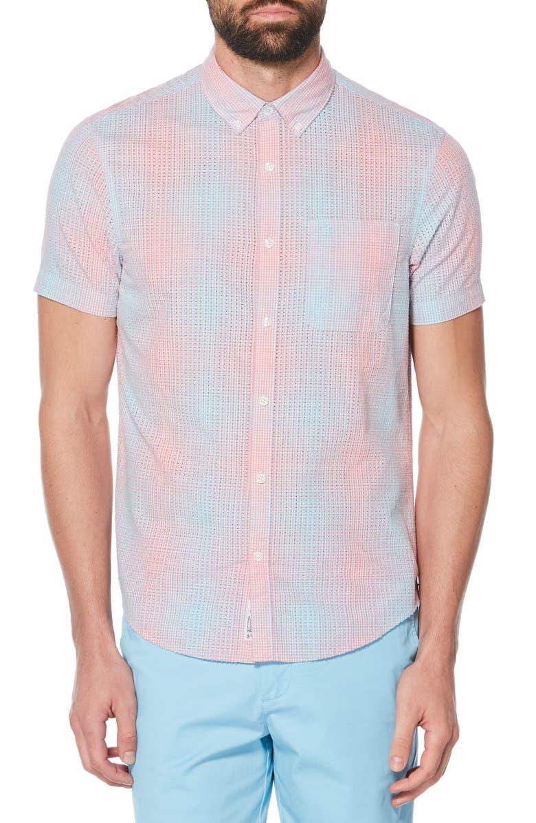ORIGINAL PENGUIN Dégradé Perforated Woven Shirt, Main, color, 437