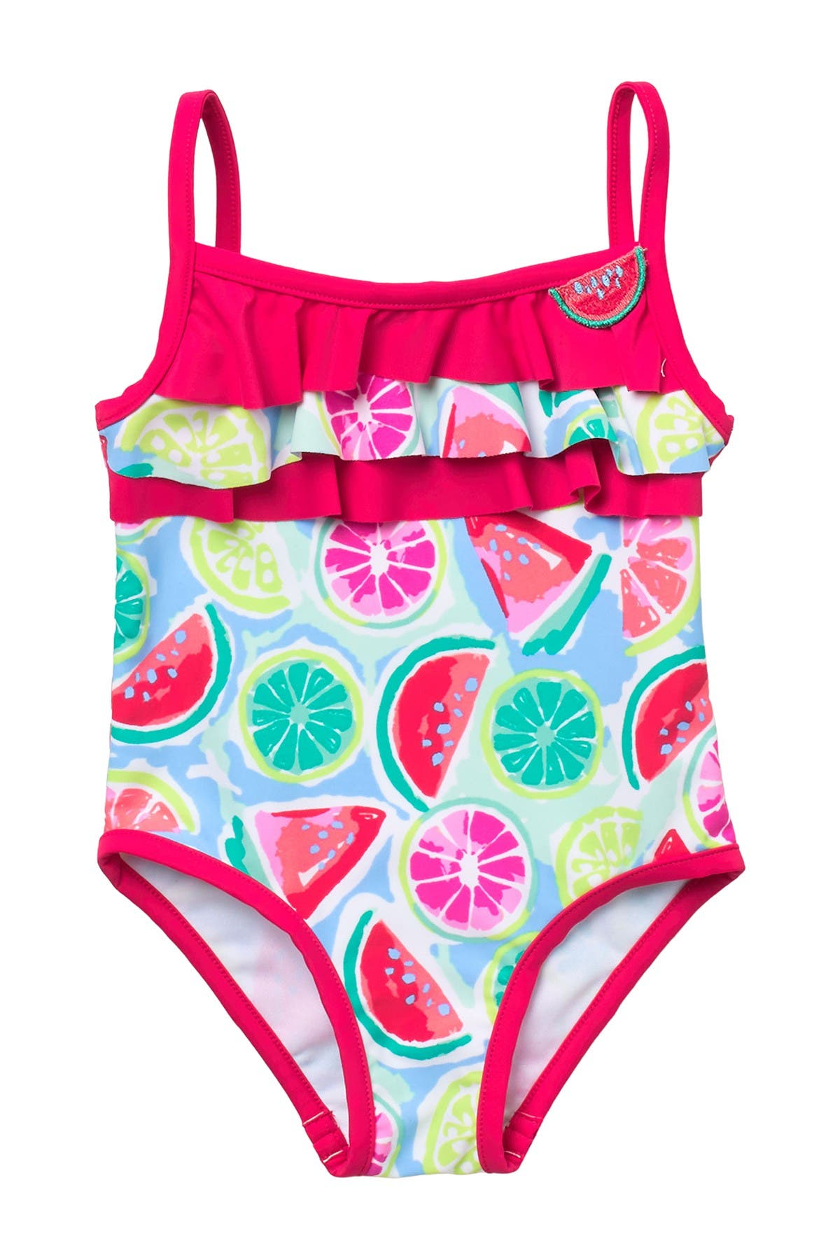 Image of Tommy Bahama Fruit Print Ruffle One-Piece Swimsuit