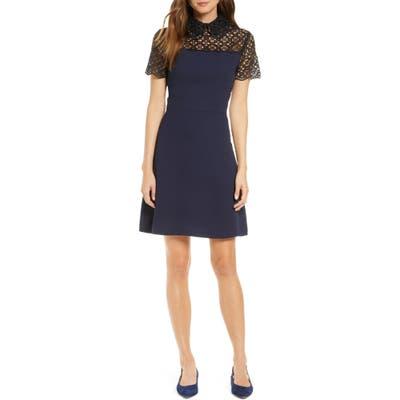 1901 Lace Yoke Collared Dress, Blue