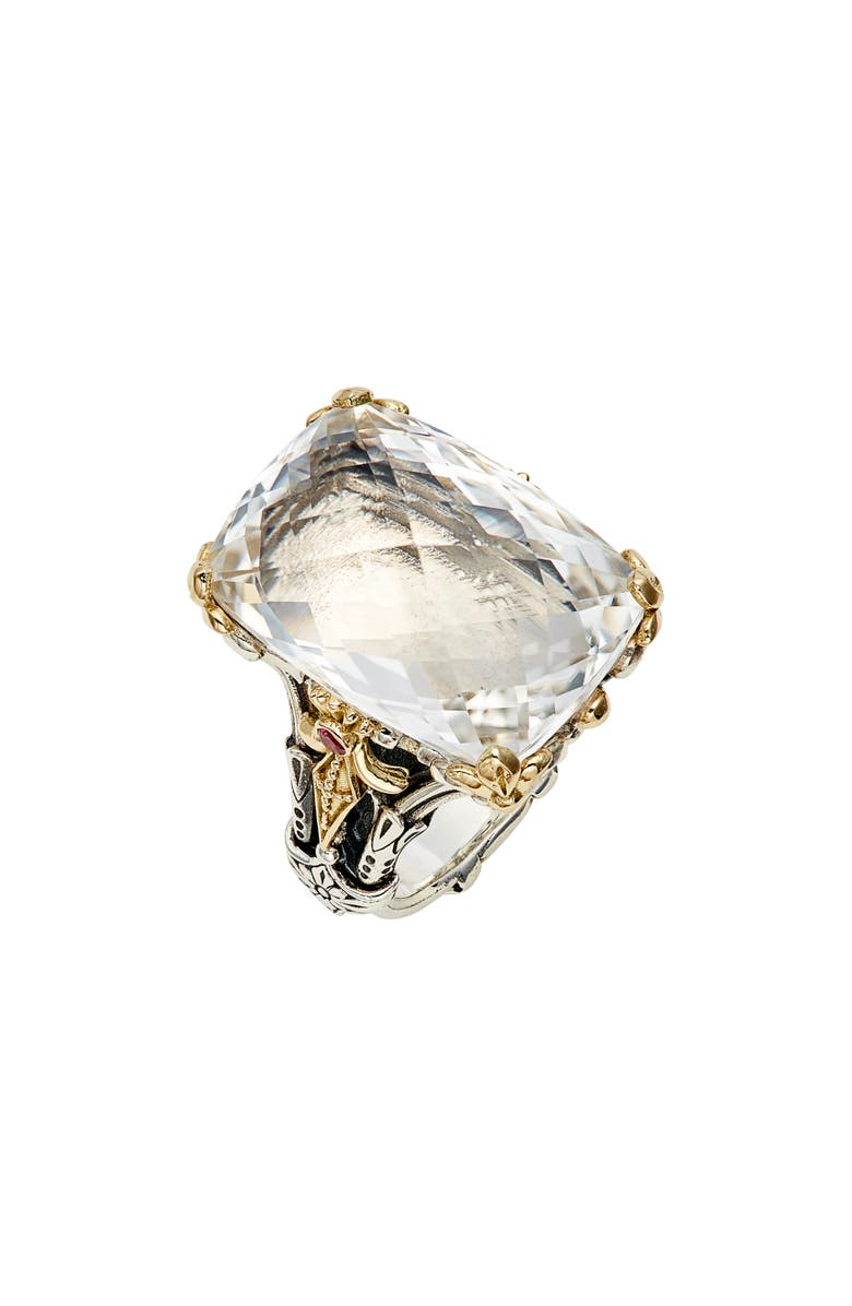 KONSTANTINO Pythia Crystal Cocktail Ring, Main, color, SILVER/ GOLD/ CLEAR QUARTZ