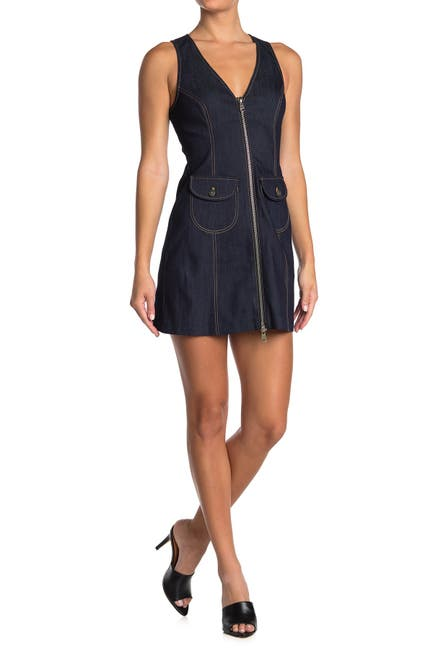 Image of Cinq a Sept Irena Zip Front Denim Mini Dress