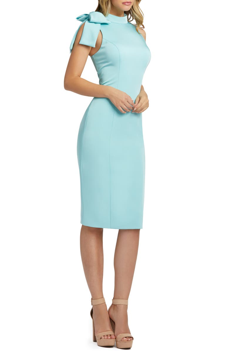 MAC DUGGAL Shoulder Bow Cocktail Dress, Main, color, AQUA