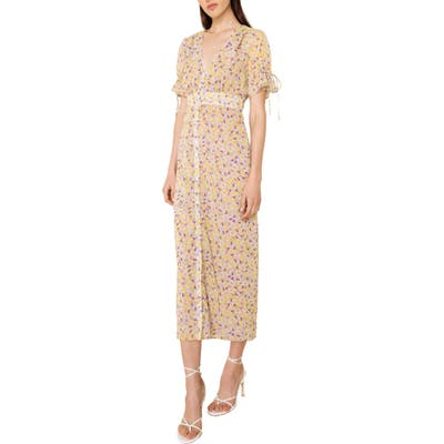 The East Order Arlo Floral Print Midi Dress, Yellow