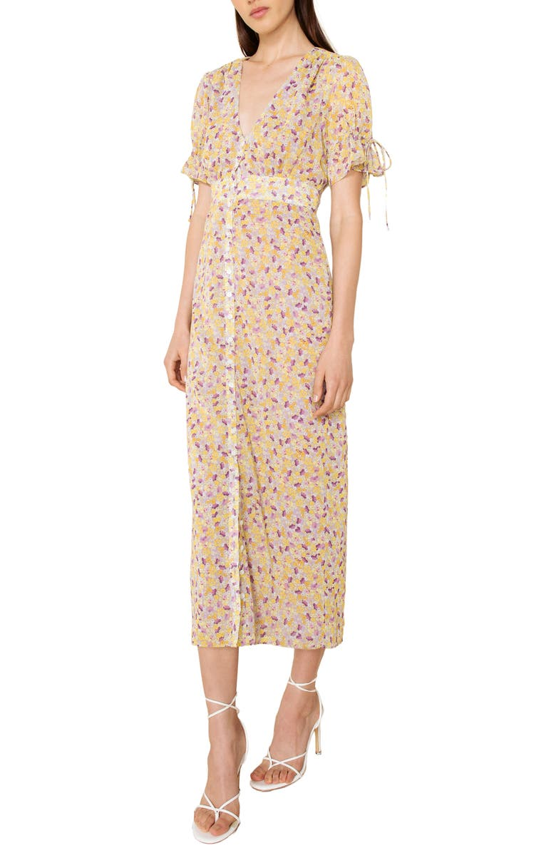 THE EAST ORDER Arlo Floral Print Midi Dress, Main, color, PURPLE RAIN