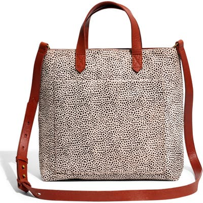 Madewell The Zip Top Small Transport Crossbody: Spotted Calf Hair Edition - Grey