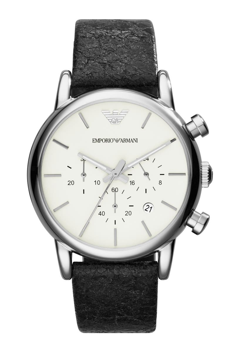 EMPORIO ARMANI Chronograph Leather Strap Watch, 41mm, Main, color, 001