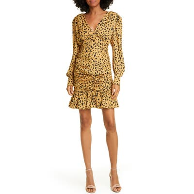 Nicholas Animal Print Silk Minidress, Yellow