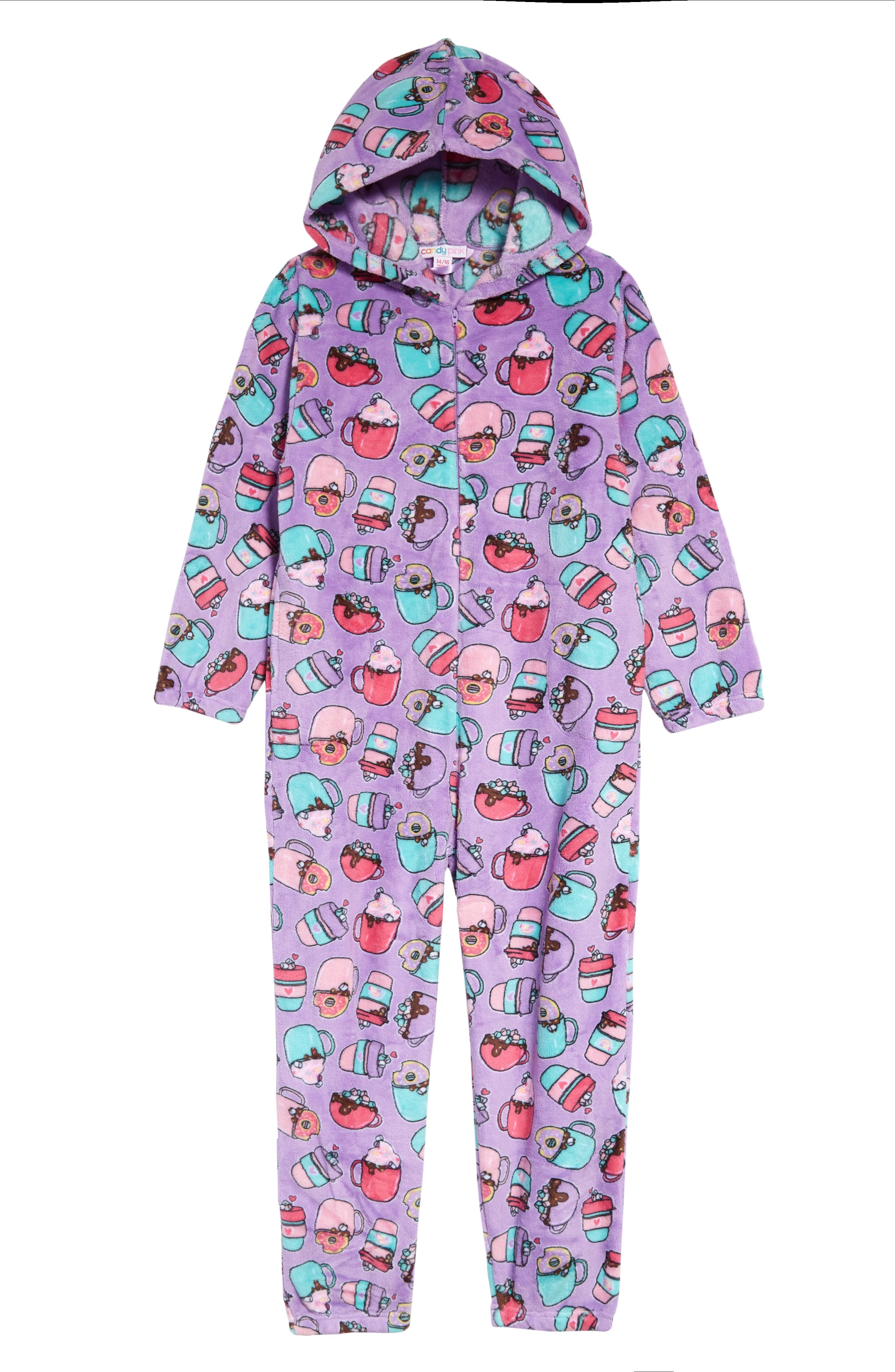 Image of Candy Pink Kids' Hot Chocolate Hooded One-Piece Pajamas