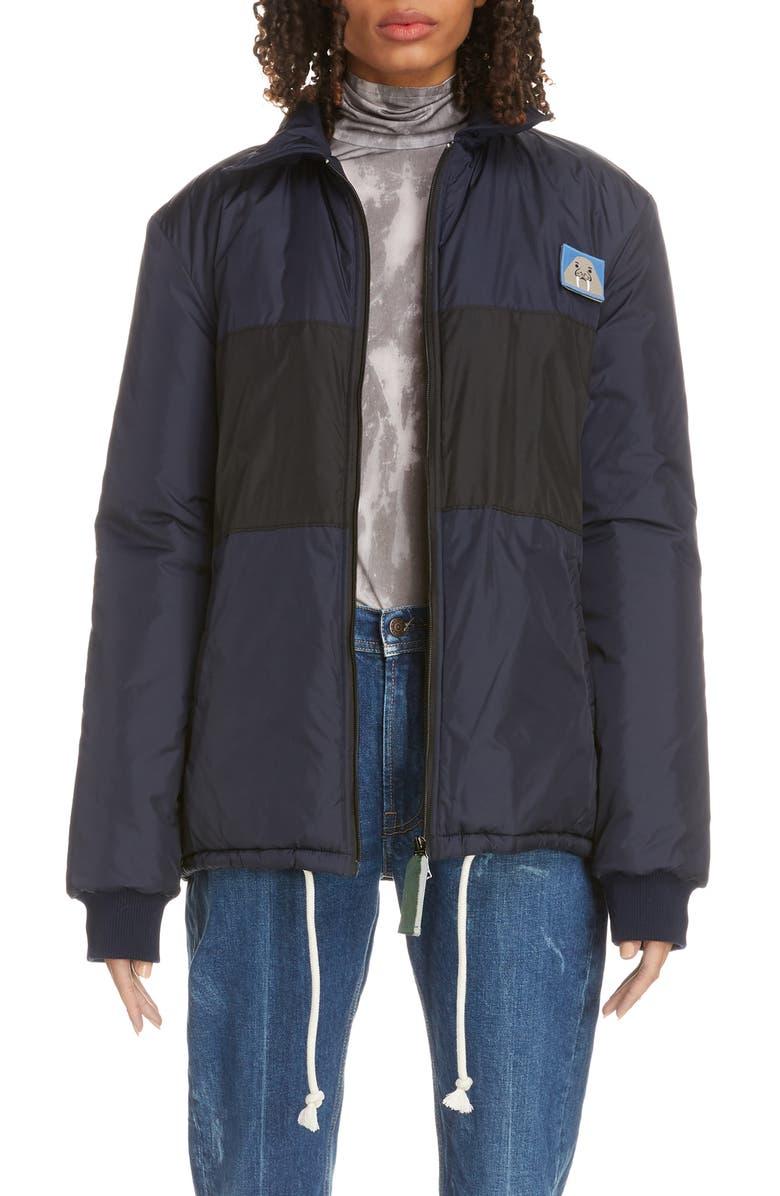 ACNE STUDIOS Odgar Face Patch Nylon Jacket, Main, color, NAVY/ BLACK