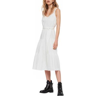 Allsaints Simone Adi Tie Waist Cotton Dress, White