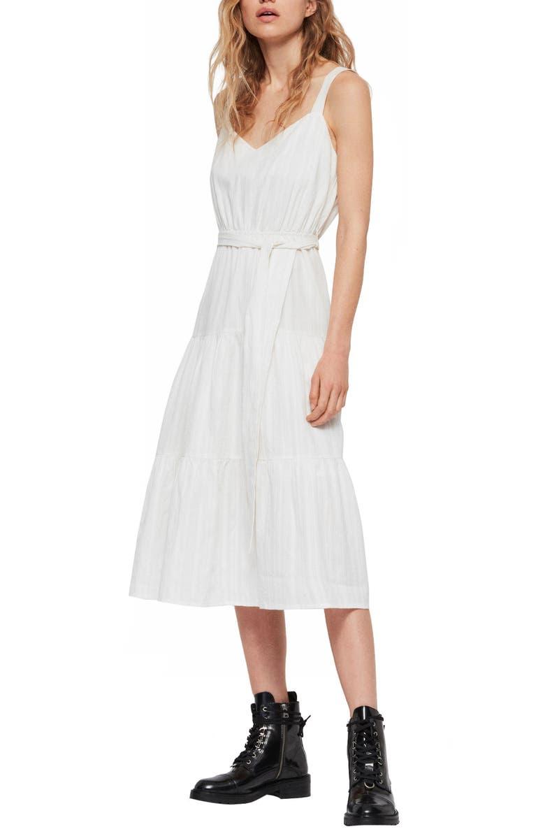 ALLSAINTS Simone Adi Tie Waist Cotton Dress, Main, color, CHALK WHITE
